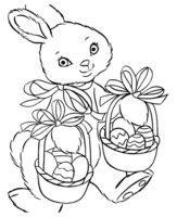 Раскраска Пасхальный кролик с двумя корзинами яиц