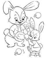 Раскраска Пасхальные крольчата