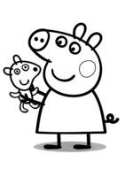 Раскраска Пеппа с плюшевым медведем