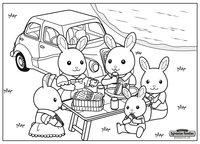 Раскраска Пикник Sylvanian Families