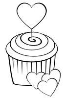Раскраска Пирожное с сердечками