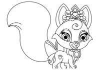 Раскраска Питомец Авроры лисёнок Вострушка