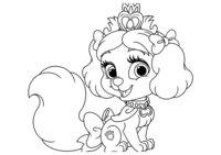 Раскраска Питомец Белоснежки щенок Булочка