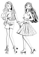 Раскраска Подружки-Барби на роликах