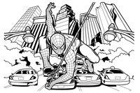 Раскраска Погоня Человека паука