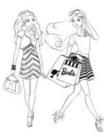 Раскраска Покупки с Барби