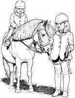 Раскраска Пони с детьми