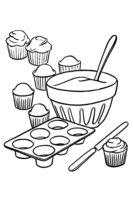 Раскраска Приготовление кексов