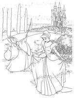 Раскраска Принцесса Диснея Золушка и фея
