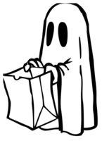 Раскраска Привидение на Хэллоуин