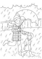 Раскраска Прогулка под дождём