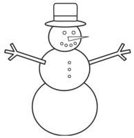 Раскраска Простой Снеговик с ветками-ручками
