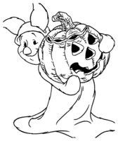 Раскраска Пятачок с тыквой идёт на Хэллоуин