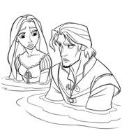 Раскраска Рапунцель и Флинн в воде