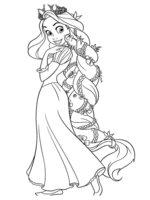 Раскраска Рапунцель заплела косу с цветами