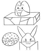 Раскраска Разрисуй и вырежи подарки на Пасху!