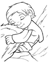 Раскраска Ребёнок обнимает Мэнни