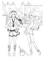 Раскраска Рисование с Барби