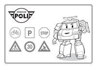 Раскраска Робокар Поли и знаки дорожного движения