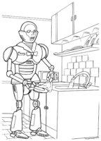 Раскраска Робот моет посуду