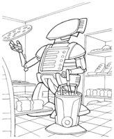 Раскраска Робот-пекарь и пицца