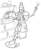 Раскраска Робот убирает в квартире