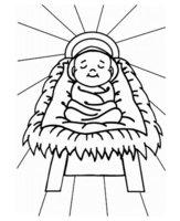 Раскраска Рождение Христа в лучах солнца