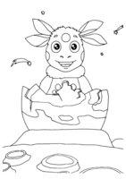 Раскраска Рождение Лунтика