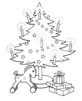 Раскраска Рождественская елка с игрушечной лошадкой