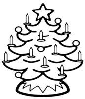 Раскраска Рождественская елка со свечками