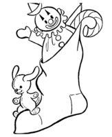 Раскраска Рождественский носок с клоуном и собачкой