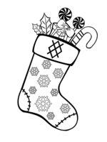 Раскраска Рождественский носок со снежинками