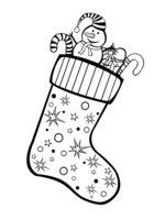 Раскраска Рождественский носок со звездами
