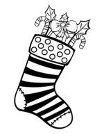Раскраска Рождественский носок в полоску