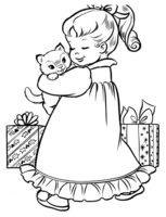 Раскраска Рождество. Девочка с котом