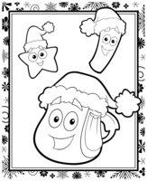 Раскраска Рюкзак Даши на Новый год