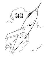 Раскраска Самолёт к 23 февраля