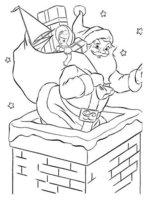 Раскраска Санта Клаус залазит в дымоход