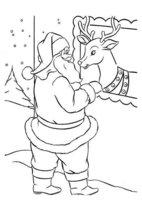 Раскраска Санта разговаривает со своим верным оленем