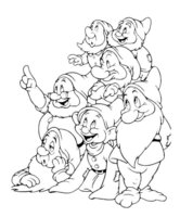 Раскраска Семь гномов
