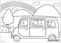 Раскраска Семья Сильваниан в машине