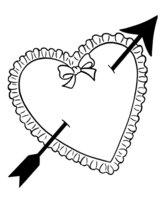 Раскраска Сердечко с бантиком