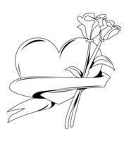Раскраска Сердечко с цветами