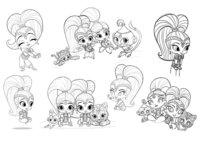 Раскраска Шиммер и Шайн с питомцами