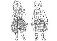 Раскраска Шотландские дети