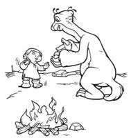 Раскраска Сид с ребёнком у костра