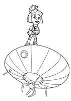 Раскраска Симка на летающей тарелке