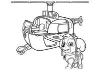 Раскраска Скай и спасательный вертолет