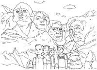 Раскраска Скульптуры горы Рашмор