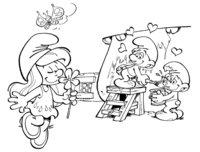 Раскраска Смурфетта с цветочком и Смурфы